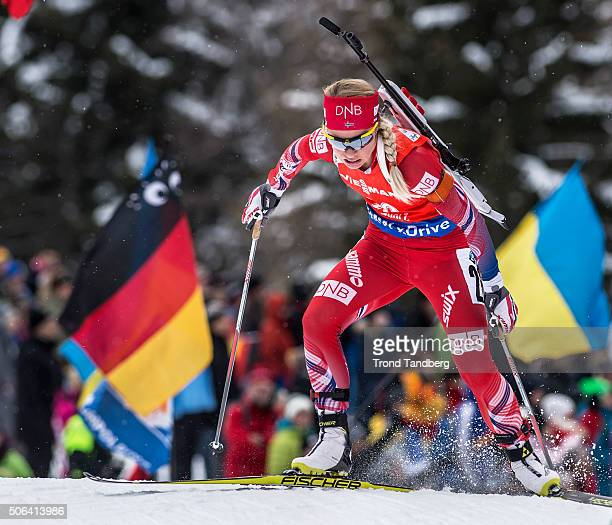 Tiril Eckhoff of Norway in action during the Biathlon Women 10 km Pursuit at the IBU Biathlon World Cup Antholtz on January 23 2016 in Antholtz Italy