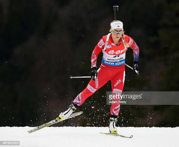 Tiril Eckhoff of Norway in action during the IBU Biathlon World Cup Women's Sprint on January 16 2015 in Ruhpolding Germany