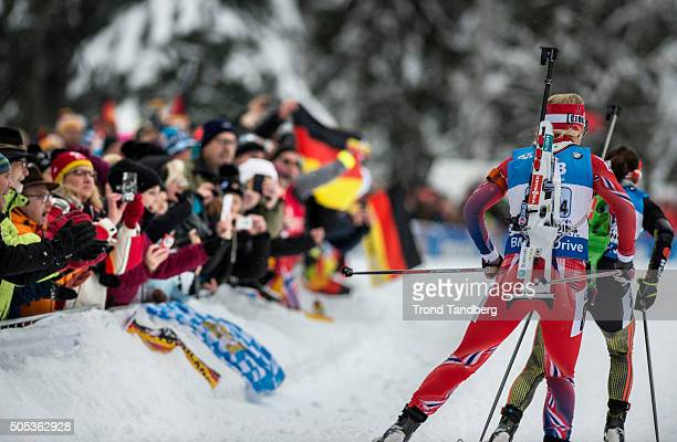 Tiril Eckhoff of Norway in action during the Women 4 x 5 km relay Biathlon race at the IBU Biathlon World Cup Ruhpolding on January 17 2016 in...