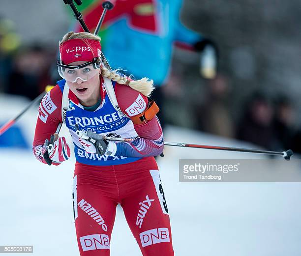 Tiril Eckhoff of Norway in action during the Women's 25 km individual Biathlon race at the IBU Biathlon World Cup Ruhpolding on January 14 2016 in...