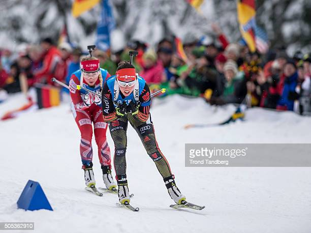 Tiril Eckhoff of Norway Laura Dahlmeier of Germany in action during the Women 4 x 5 km relay Biathlon race at the IBU Biathlon World Cup Ruhpolding...