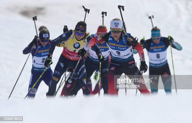 Tiril Eckhoff of Norway leads the pack as she competes to win the Women's 12,5 km Mass Start event at the IBU World Cup Biathlon in Nove Mesto, Czech...