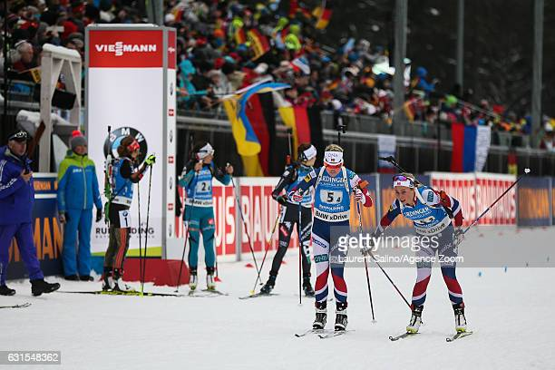 Tiril Eckhoff of Norway Marte Olsbu of Norway takes 3rd place during the IBU Biathlon World Cup Women's Relay on January 12 2017 in Ruhpolding Germany