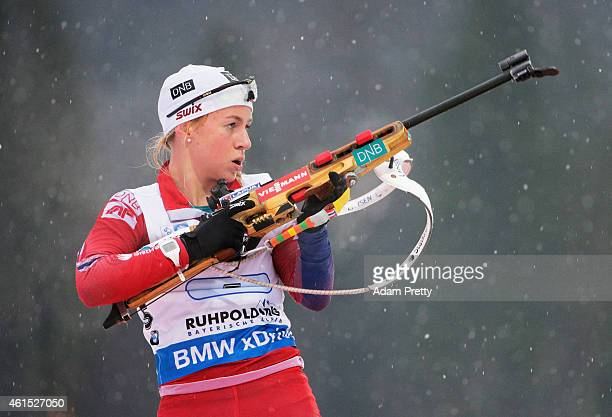 Tiril Eckhoff of Norway reloads during the IBU Biathlon World Cup Women's Relay on January 14 2015 in Ruhpolding Germany