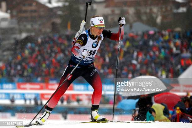 Tiril Eckhoff of Norway takes 1st place during the IBU Biathlon World Cup Women's 75km on December 20 2019 in Le GrandBornand France
