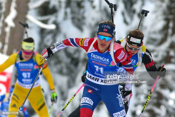 Tiril Eckhoff of Norway takes 1st place during the IBU Biathlon World Cup Women's Sprint on January 18 2018 in AntholzAnterselva Italy