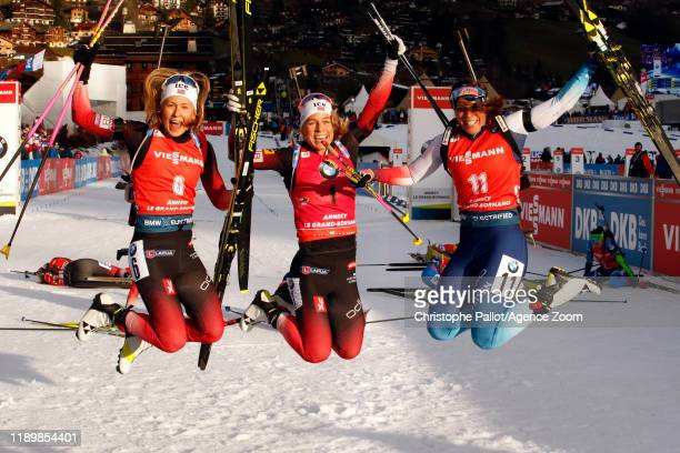 Tiril Eckhoff of Norway takes 1st place Ingrid Landmark Tandrevold of Norway takes 2nd place Lena Haecki takes 3rd place during the IBU Biathlon...