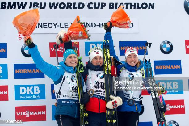 Tiril Eckhoff of Norway takes 1st place Justine Braisaz of France takes 2nd place Marketa Davidova of Czech Republic takes joint 3rd place during the...