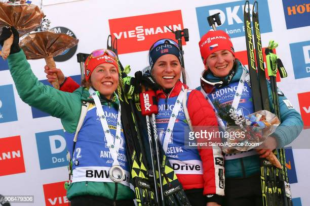 Tiril Eckhoff of Norway takes 1st place, Laura Dahlmeier of Germany takes 2nd place, Veronika Vitkova of Czech Republic takes 3rd place during the...