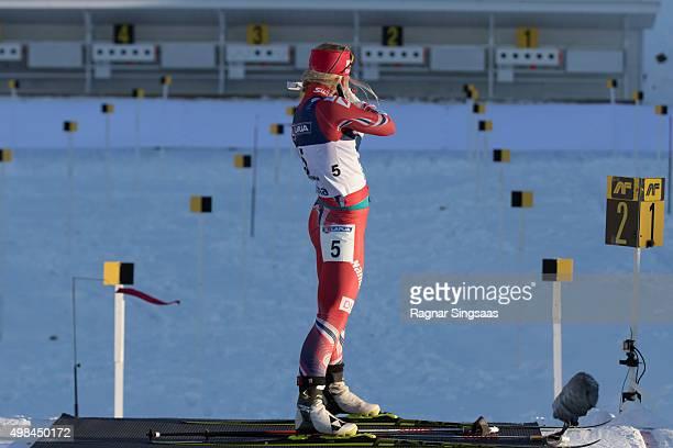 Tiril Eckhoff of Norway takes 3rd place during the women's 125 kilometer mass start race of the Season Start Biathlon on November 22 2015 in Sjusjoen...
