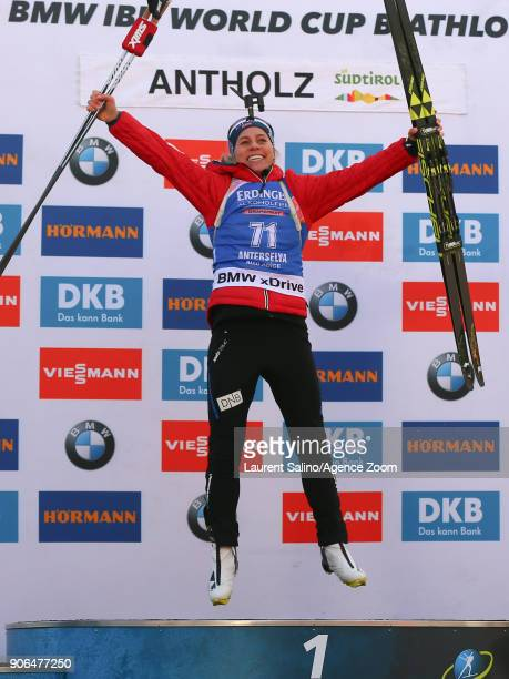 Tiril Eckhoff of Norway takes joint 1st place during the IBU Biathlon World Cup Women's Sprint on January 18 2018 in AntholzAnterselva Italy