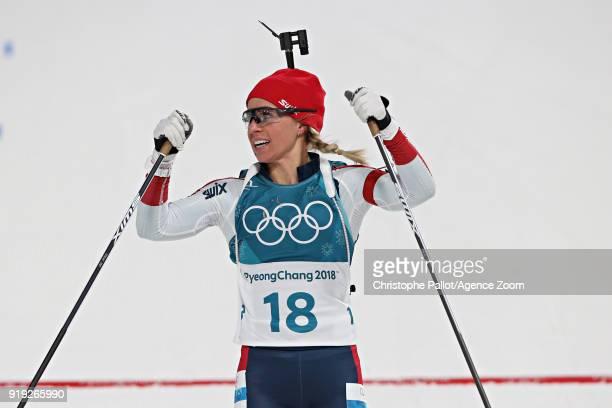 Tiril Eckhoff of Norway wins the bronze medal during the Biathlon Women's 125km Mass Start at Alpensia Biathlon Centre on February 17 2018 in...