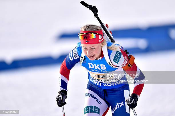 Tiril Eckhoff of Norway wins the gold medal during the IBU Biathlon World Championships Women's Relay on March 11 2016 in Oslo Norway