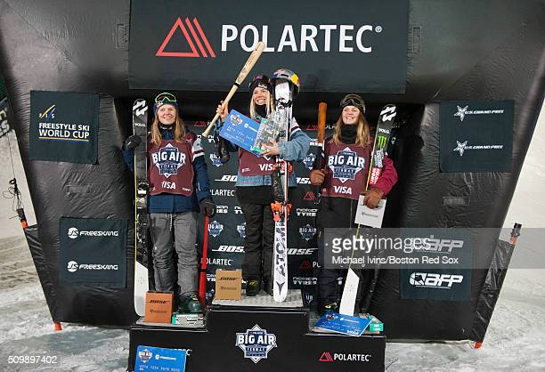 Tiril Sjaastad Christiansen Lisa Zimmermann and Emma Dahlstrom celebrate from the podium after taking third first and second respectively at the...
