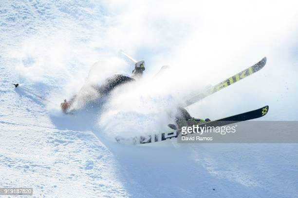 Tiril Sjaastad Christiansen of Norway crashes during the Freestyle Skiing Ladies' Ski Slopestyle final on day eight of the PyeongChang 2018 Winter...