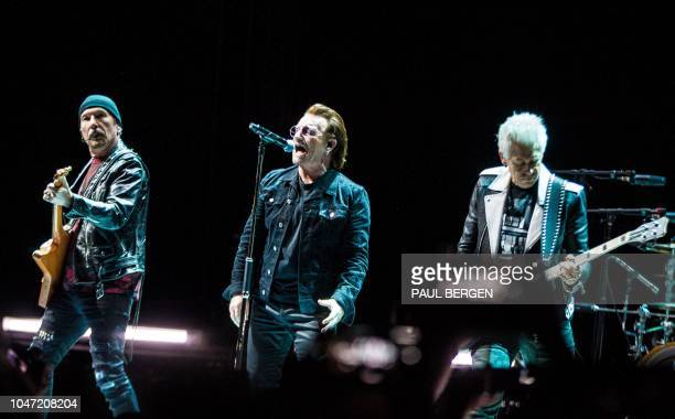 TIrish band U2 performs during one of it's two concerts at the Ziggo Dome in Amsterdam The Netherlands October 7 as part of the 'Experience Innocence...