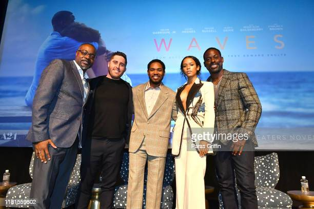 Tirrell D Whittley Trey Edward Shults Kelvin Harrison Jr Taylor Russell and Sterling K Brown attend the Waves Atlanta red carpet premiere at SCADShow...