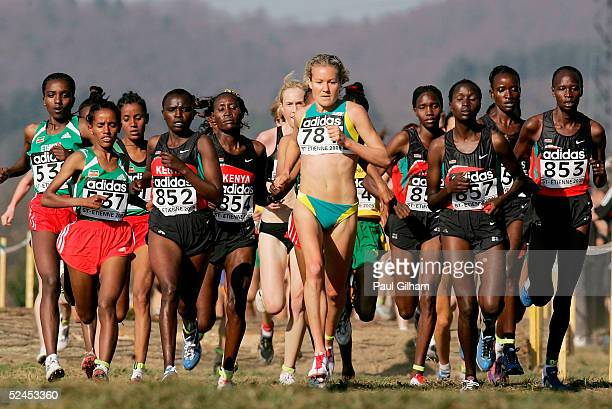 Tirunesh Diaba of Ethiopia gains on the leaders on her way to winning the Women's Long Race in the 33rd IAAF World Cross Country Championships at...