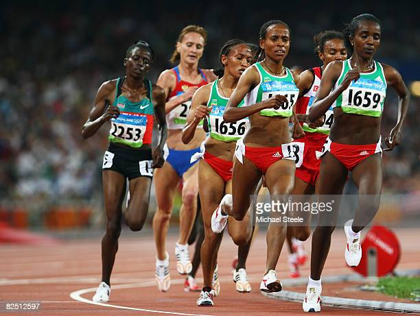 Tirunesh Dibaba Kenene of Ethiopia leads on her way to winning the Women's 5000m Final at the National Stadium on Day 14 of the Beijing 2008 Olympic...