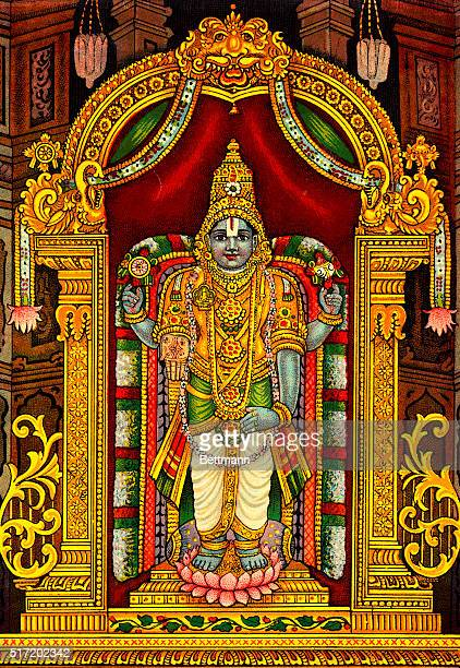 Tirupati is a city in southwest India known as the home of the Hindu god Venkateswara Lord of Seven Hills who is depicted here