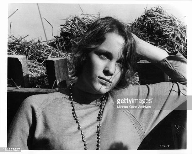 Tisa Farrow with hand head in a scene from the film 'Homer', 1970.