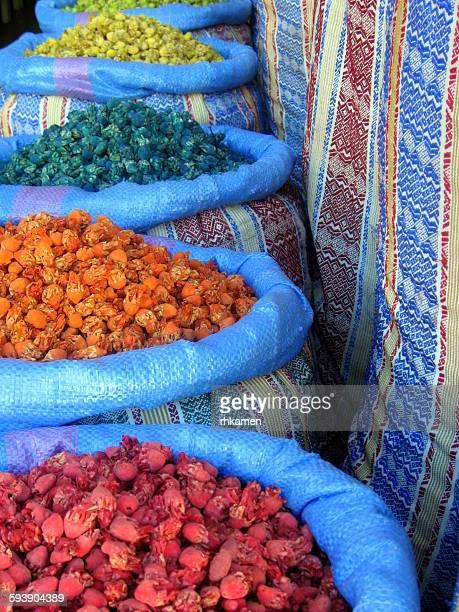 Tisanes in sacks, Marrakesh, Morocco