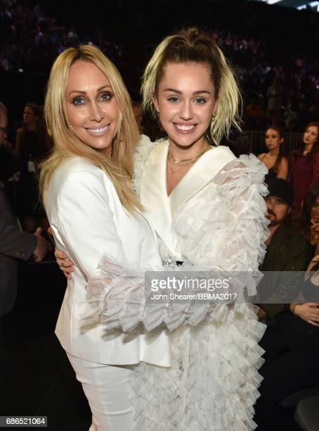 Tish Cyrus and singer Miley Cyrus attend the 2017 Billboard Music Awards at TMobile Arena on May 21 2017 in Las Vegas Nevada