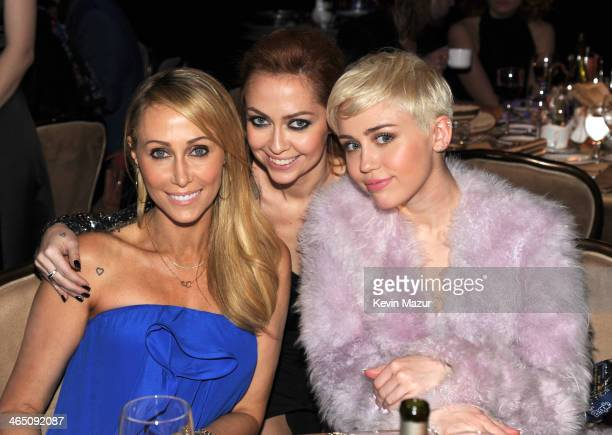 Tish Cyrus Brandi Cyrus and Miley Cyrus during the 56th annual GRAMMY Awards PreGRAMMY Gala and Salute to Industry Icons honoring Lucian Grainge at...