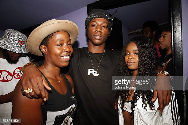 Tish Hyman Joey Badass and Dreezy attend Highline Ballroom on July 20 2016 in New York City