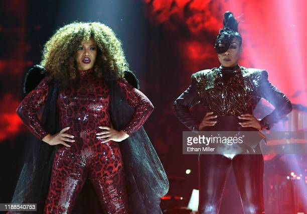 Tisha Campbell and Tichina Arnold cohost the 2019 Soul Train Awards presented by BET at the Orleans Arena on November 17 2019 in Las Vegas Nevada