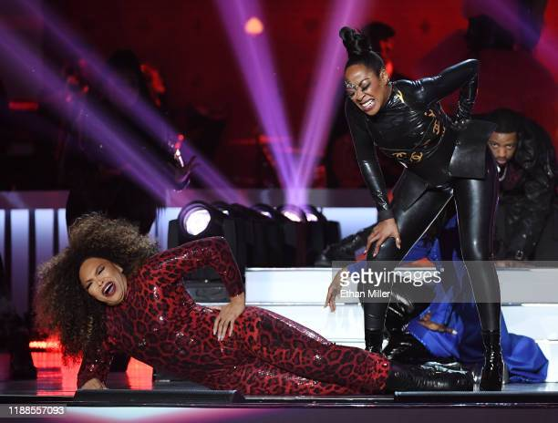 Tisha Campbell and Tichina Arnold joke around as they cohost the 2019 Soul Train Awards presented by BET at the Orleans Arena on November 17 2019 in...