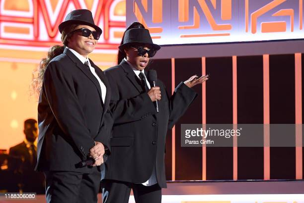 Tisha Campbell and Tichina Arnold speak onstage at the 2019 Soul Train Awards presented by BET at the Orleans Arena on November 17, 2019 in Las...