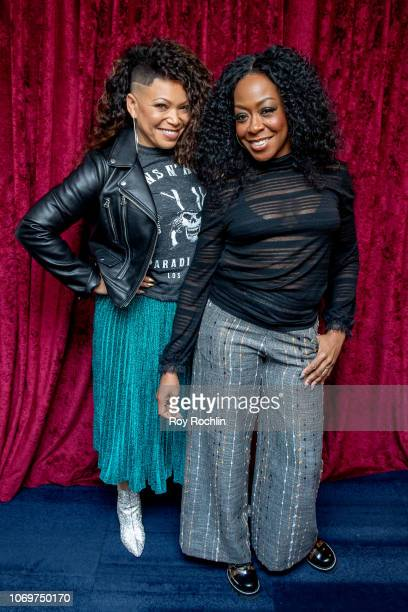 """Tisha Campbell and Tichina Arnold visit the """"Sway in the Morning"""" show with Sway Calloway on Shade 45 at SiriusXM Studios on November 19, 2018 in New..."""