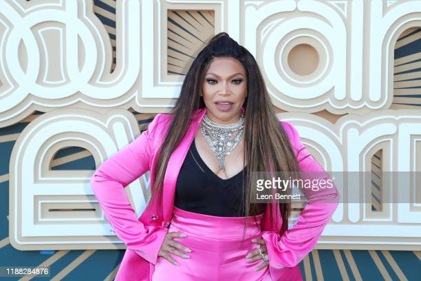 Tisha Campbell attends the 2019 Soul Train Awards presented by BET at the Orleans Arena on November 17 2019 in Las Vegas Nevada