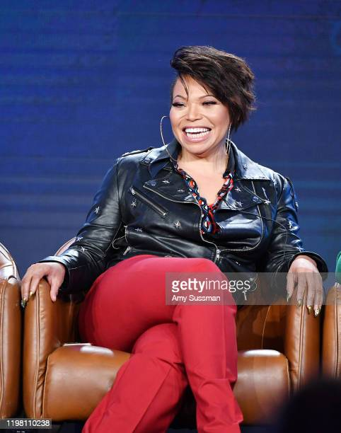 Tisha Campbell of 'Out Matched' speaks during the Fox segment of the 2020 Winter TCA Press Tour at The Langham Huntington, Pasadena on January 07,...