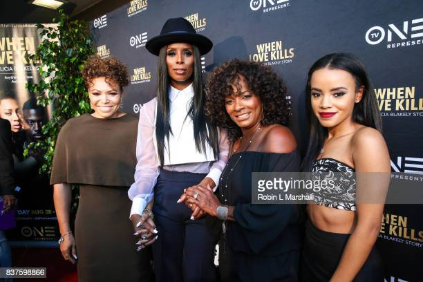 Tisha Campbell Tasha Smith Vanessa Bell Calloway and Bianca Lawson attend the LA premiere of TV One's 'When Love Kills' at Harmony Gold on August 22...