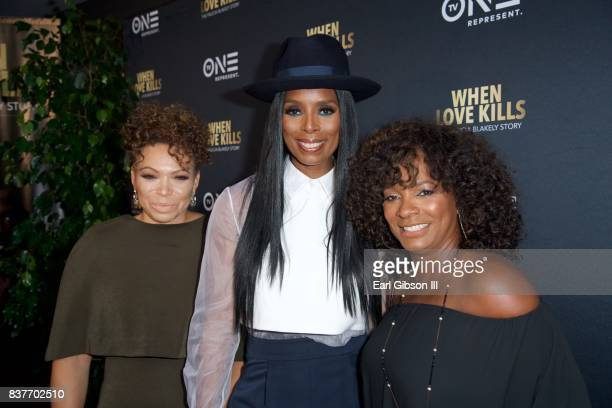 Tisha CampbellMaritn Tasha Smith and Vanessa Bell Calloway attend the Premiere Of TV One's When Love Kills at Harmony Gold on August 22 2017 in Los...