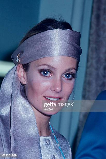 Tisha Sterling closeup wearing a lavender outfit circa 1970 New York