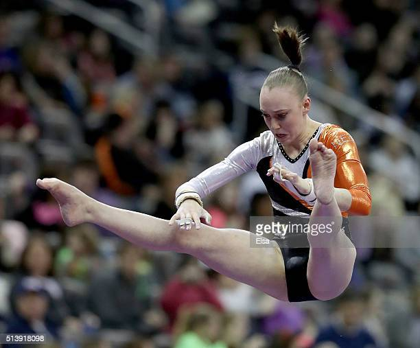 Tisha Volleman of the Netherlands competes on the uneven parallel bars during the 2016 ATT American Cup on March 5 2016 at Prudential Center in...