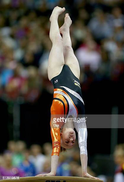 Tisha Volleman of the Netherlands competes on the vault during the 2016 ATT American Cup on March 5 2016 at Prudential Center in Newark New Jersey