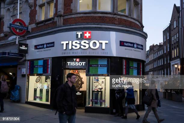 Tissot store seen in London famous Oxford street Central London is one of the most attractive tourist attraction for individuals whose willing to...