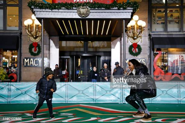 Titan Rowland and Kelly Rowland perform during the 93rd Annual Macy's Thanksgiving Day Parade rehearsals at Macy's Herald Square on November 25, 2019...