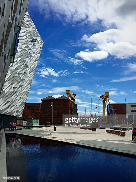 titanic belfast against sky - belfast stock pictures, royalty-free photos & images