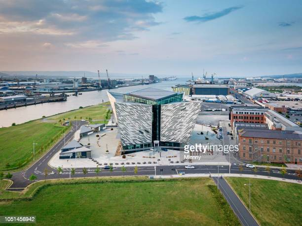 titanic belfast quarter river lagan north ireland belfast aerial view - belfast stock pictures, royalty-free photos & images