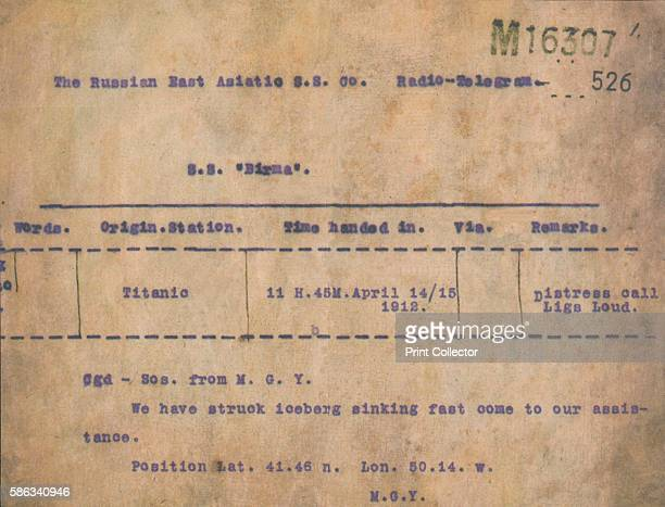 Titanic Iceberg Telegram 1912 A telegram transmited from RMS Titanic to the SS Birma April 15 reading We have struck iceberg sinking fast come to our...
