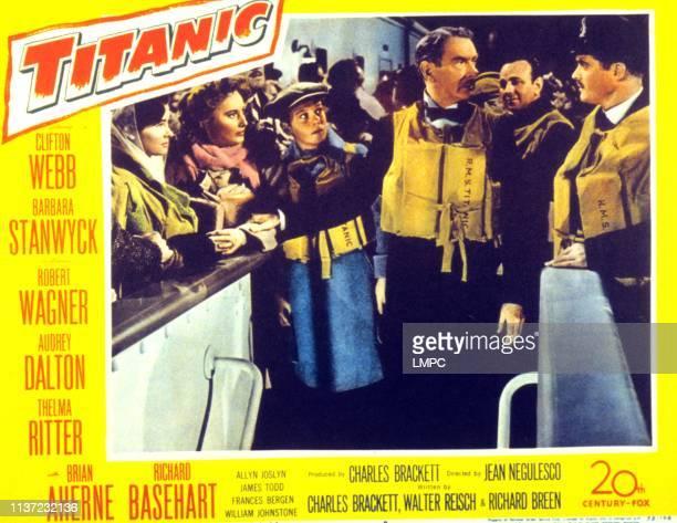 Titanic lobbycard Audrey Dalton Barbara Stanwyck Harper Carter Clifton Webb 1953