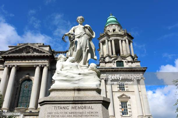 titanic memorial in the gardens of belfast city hall - rainer grosskopf stock pictures, royalty-free photos & images