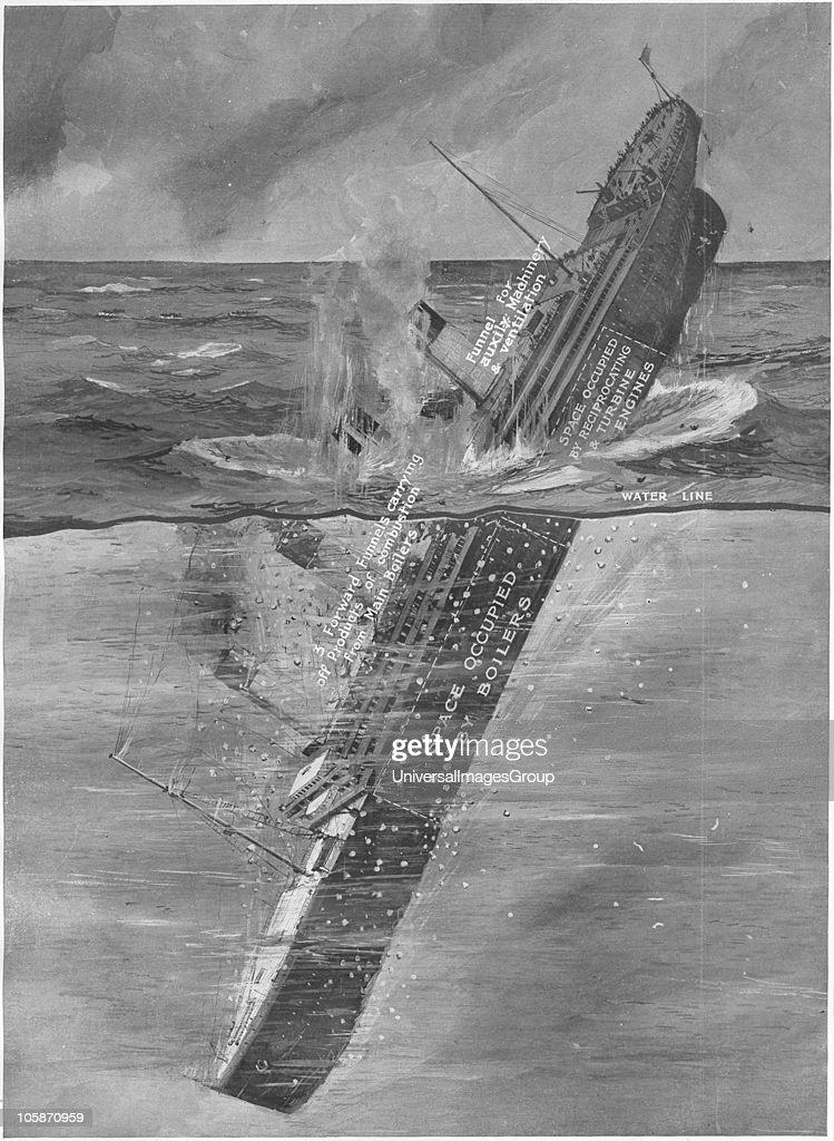 RMS Titanic Sinking, Illustration showing the Titanic ...