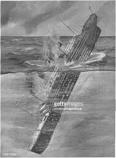 RMS Titanic Sinking Illustration showing the Titanic sinking Titanic was built by Harland Wolff in Belfast Ireland during 1910 1911 and later sank on...
