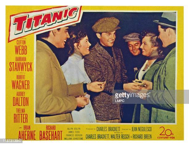 Titanic US lobbycard left from second left Audrey Dalton Robert Wagner 1953